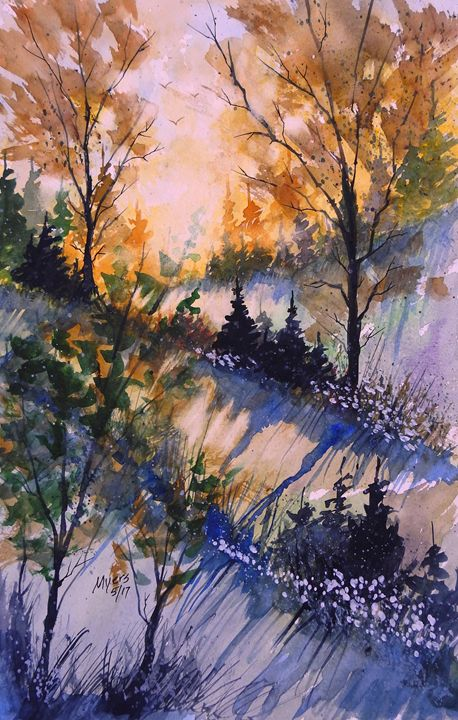 Spring Sun Loose Watercolor - David K. Myers Watercolor/ Photo Gallery