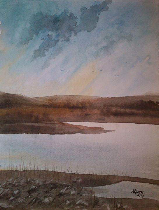 Lake Sunset - David K. Myers Watercolor/ Photo Gallery