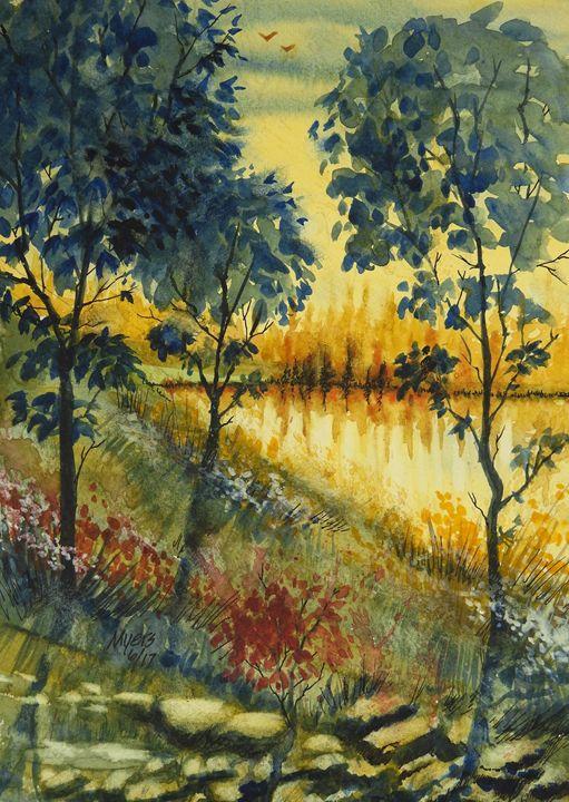 Golden Lake, Summer Watercolor - David K. Myers Watercolor/ Photo Gallery