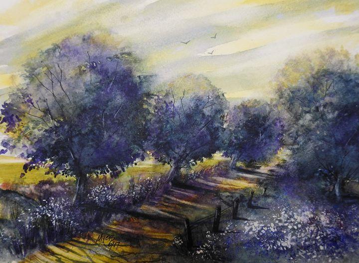 Golden Road Watercolor - David K. Myers Watercolor/ Photo Gallery
