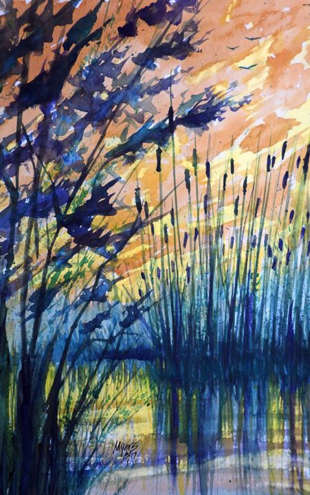 Cattail Sunset Watercolor - David K. Myers Watercolor/ Photo Gallery