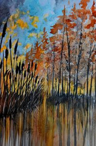 Cattails and Trees Watercolor