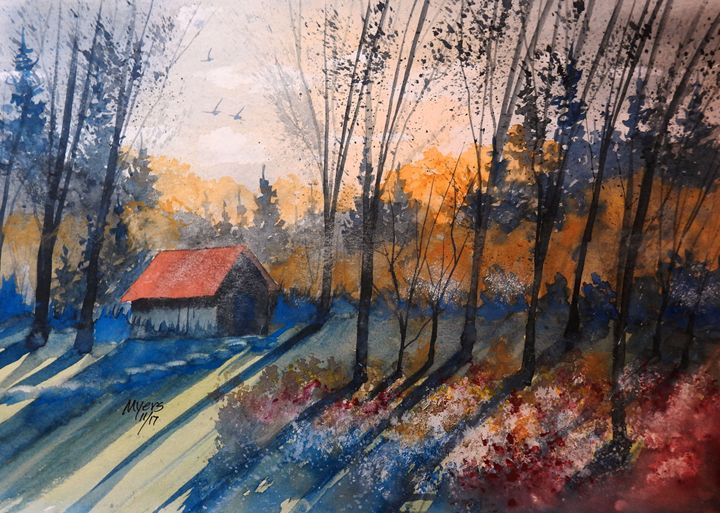Old Flower Shed, Watercolor - David K. Myers Watercolor/ Photo Gallery