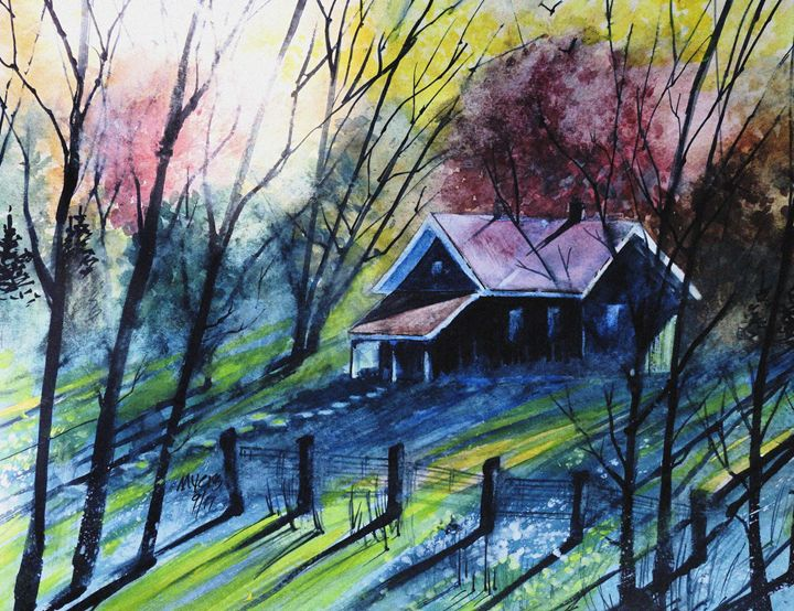 Fall Cabin Sunset, Watercolor - David K. Myers Watercolor/ Photo Gallery