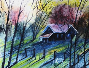 Fall Cabin Sunset, Watercolor