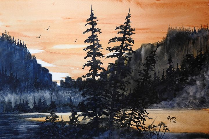 Canyon Trees, Watercolor - David K. Myers Watercolor/ Photo Gallery