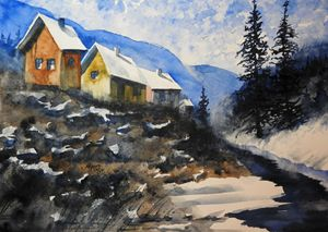 Winter Creek Cabins Watercolor