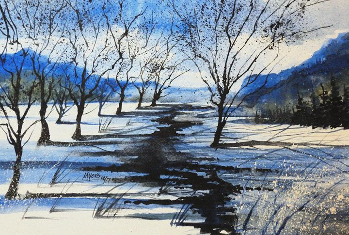 Winter River 2, Watercolor - David K. Myers Watercolor/ Photo Gallery