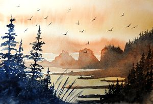 Bird Heaven, Watercolor
