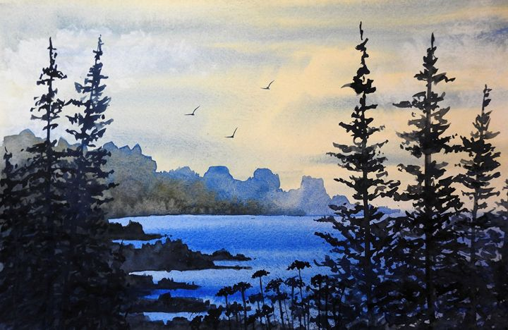 Rocky Beach, Watercolor - David K. Myers Watercolor/ Photo Gallery