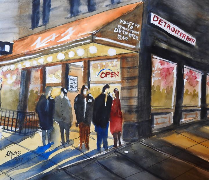 Detroiter Bar Watercolor - David K. Myers Watercolor/ Photo Gallery