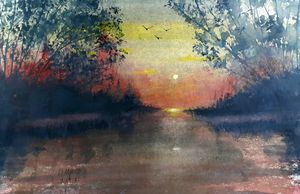 Moon rise by David K Myers - David K. Myers Watercolor/ Photo Gallery