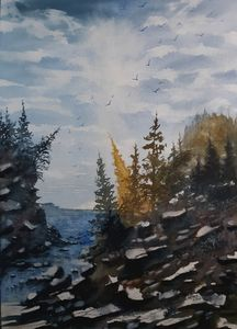 Tipping Trees Watercolor by David K