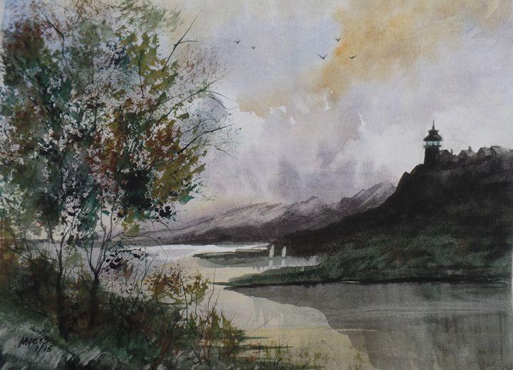Harbor Light - David K. Myers Watercolor/ Photo Gallery