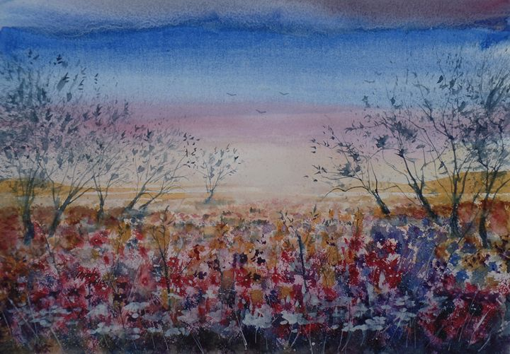 Wildflower Sunrise - David K. Myers Watercolor/ Photo Gallery