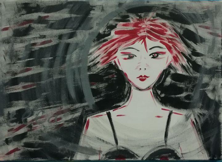 A girl at night window - Ella Asvar