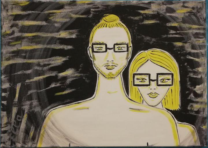 A couple in the night window - Ella Asvar