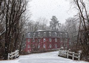 Kingston Mill in Snowstorm