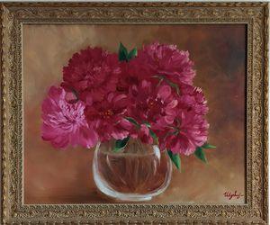 My pink pionies in vase