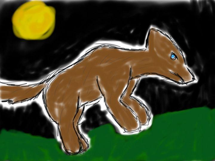 Wolf at night - Ping's Art