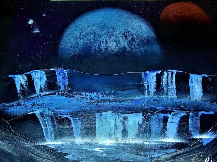 Planet Behind Waterfall -  Patman81740