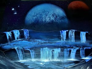 Planet Behind Waterfall
