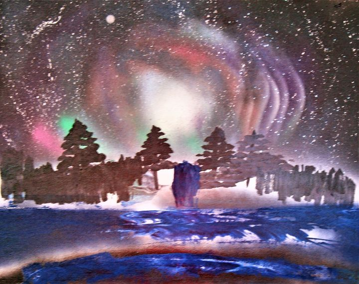 Wintry Night Time Forest -  Patman81740