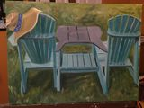 Oil painting of two Adirondack chair