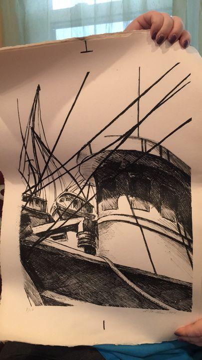 Fishing boats by the dock - Linda Lee Layton