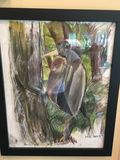 pastel drawing of a woodpecker