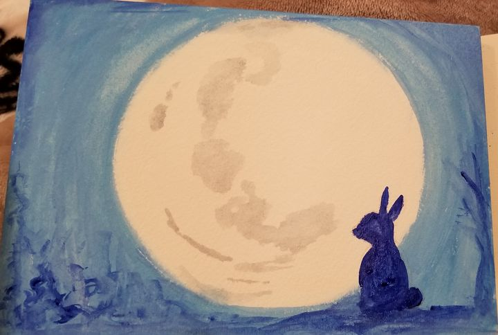Rabbit and the moon - ArtmyHart