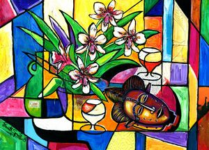 Still Life Orchids and African mask