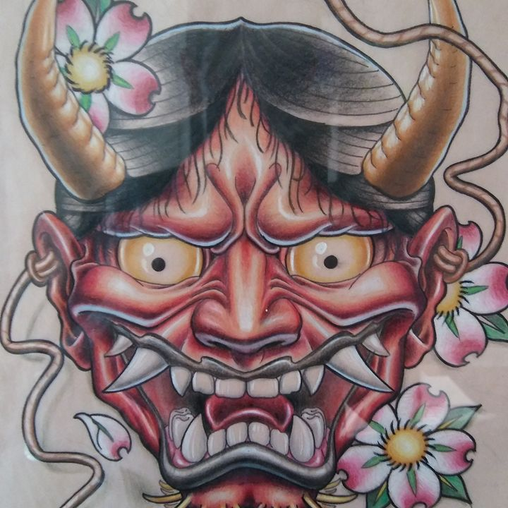 Oni mask - Aaron Mountjoy Art