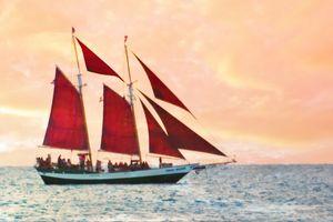 Red Sails at Sunset in Key West - Welborne Fine Art