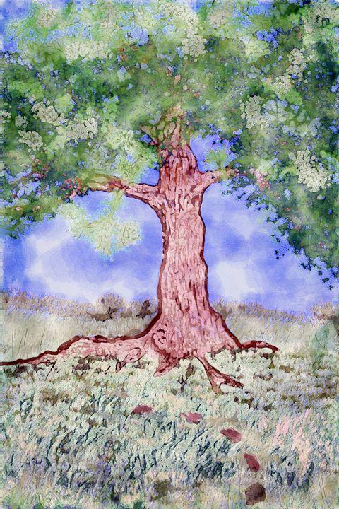 Tree Grass Sky Digital Watercolor - Welborne Fine Art