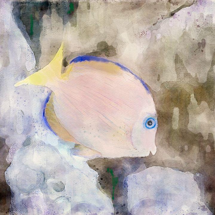 Blue Striped Grunt Digital Watercolo - Welborne Fine Art