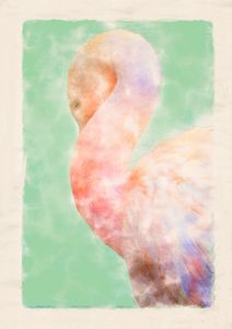 Napping Flamingo Digital Watercolor
