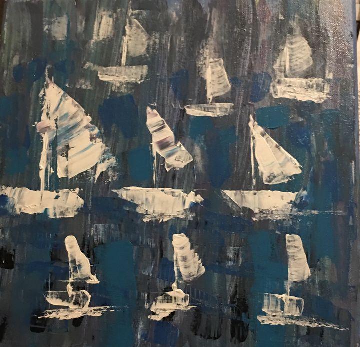 Sailboats - Serendipities on canvas