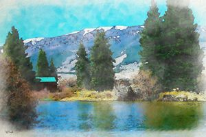 Mountain Lake - Watercolor - Aspen Willow Fine Art Photography Gallery