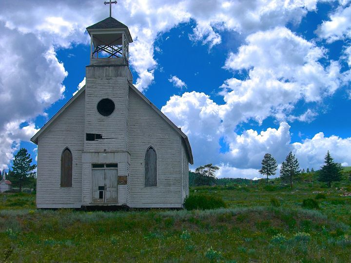 Old Church Under Colorado Skies - Aspen Willow Fine Art Photography Gallery