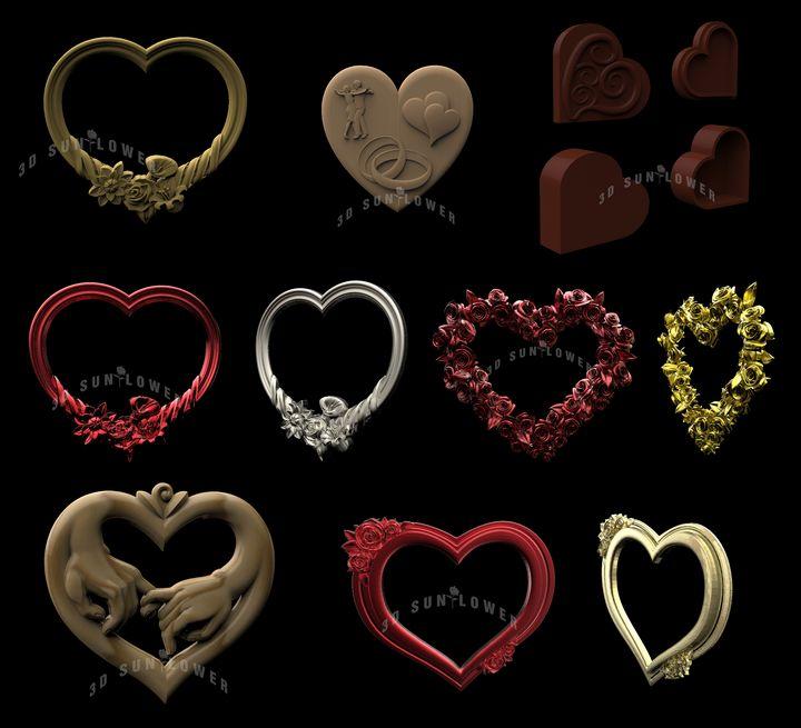 6  Heart Frames Collection+Cassette - Sunflower