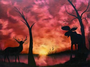 Moose and Buck at Sunset