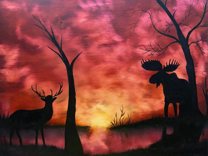 Moose and Buck at Sunset - Art By Charlie