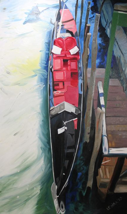 Red Gondola No.3 (February) - Lenka Graner's Paintings