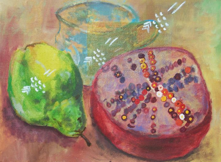 Pomegranate, Pear and Glass - Lenka Graner's Paintings