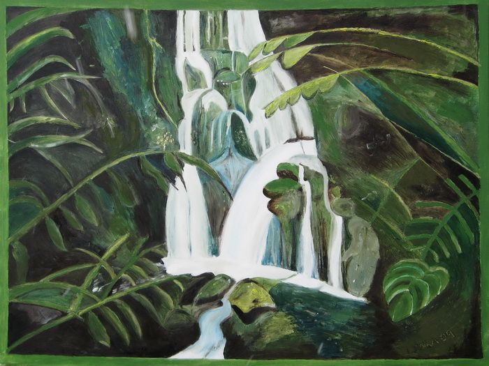 Green Tropical Waterfall - Lenka Graner's Paintings