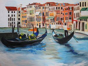 Gondolas in a Venice Canal