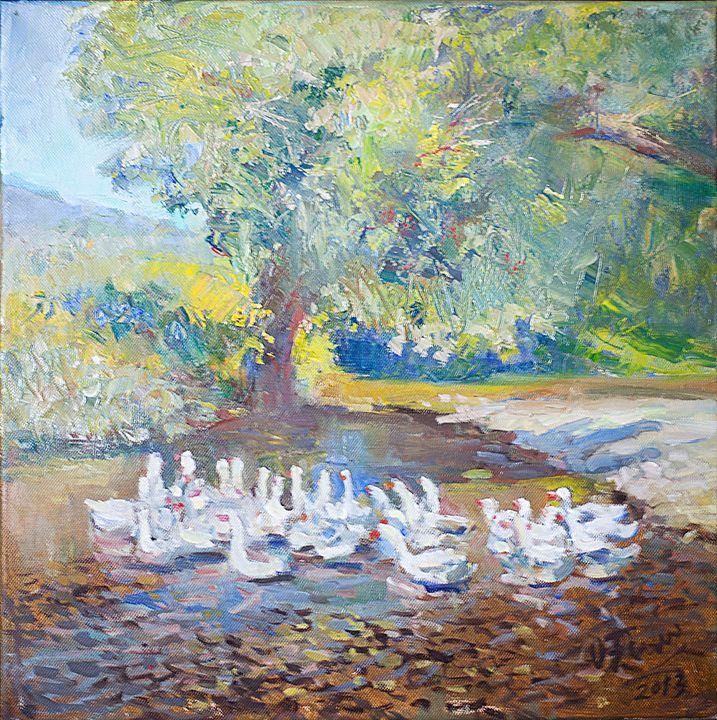 Landscape with geese - Oksana Begma