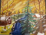 Cabin by the fall painting