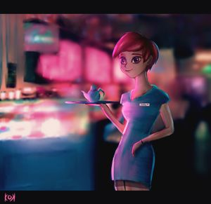 Waitress at night